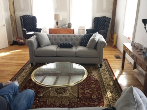 New sofas, chairs and rug in Living Room.