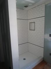 New tile in shower stall