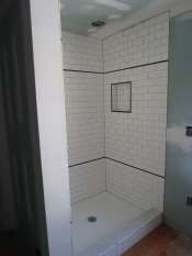 New tile in shower stall