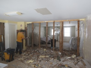 Wall is demolished - view through to Dining Room