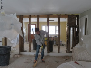 Wall is demolished - view through to Kitchen