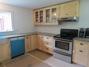 Kitchen counters and cabinets installed