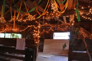 Shed is decorated for kids dance party