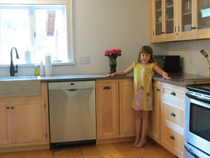 Fresh roses and my daughter in new kitchen