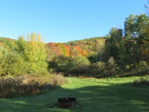 View from front looking out to hills just beyond our property (pond area to the left / fire pit in front).