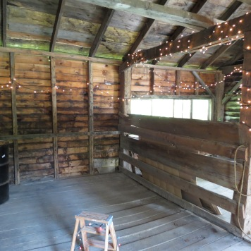 Inside of shed with all its wood